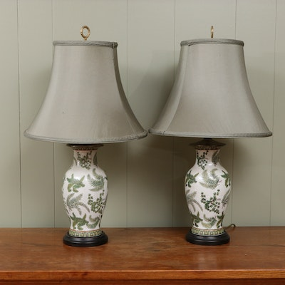 Ginger Jar Ceramic Table Lamps with Ferns and Ivy Design