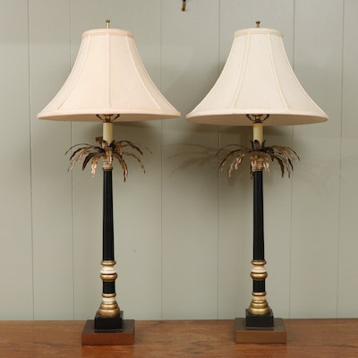 Pair of Palm Tree Buffet Lamps, Late 20th Century