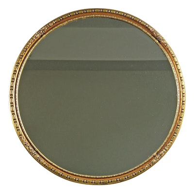 Giltwood Round Wall Mirror with Floral Ornamentation