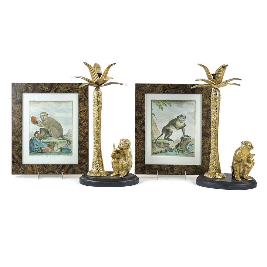 Lacquered Brass Monkey Candlesticks with Offset Lithographs of Monkeys