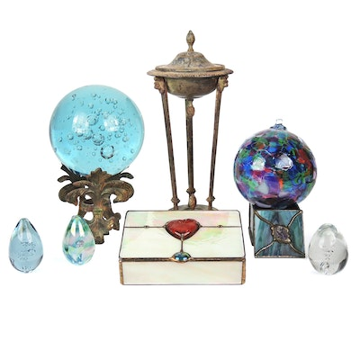 "Kitras Glass ""Friendship Ball"", Controlled Bubble Orb, and Other Décor"