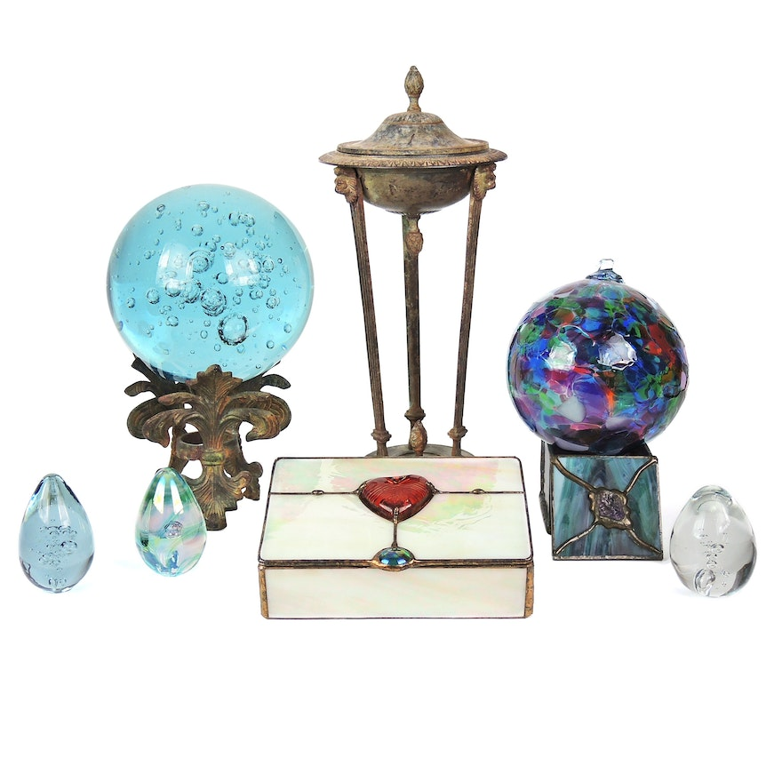 """Kitras Glass """"Friendship Ball"""", Controlled Bubble Orb, and Other Décor"""