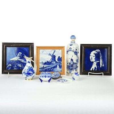 Delft Hand Painted Ceramic Bottle, Trinket Box, and More