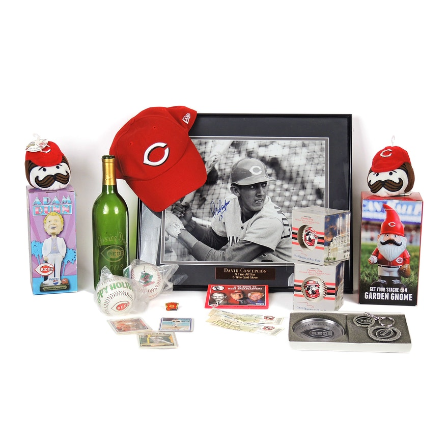 Signed David Concepcion Photograph with Cincinnati Reds Memorabilia