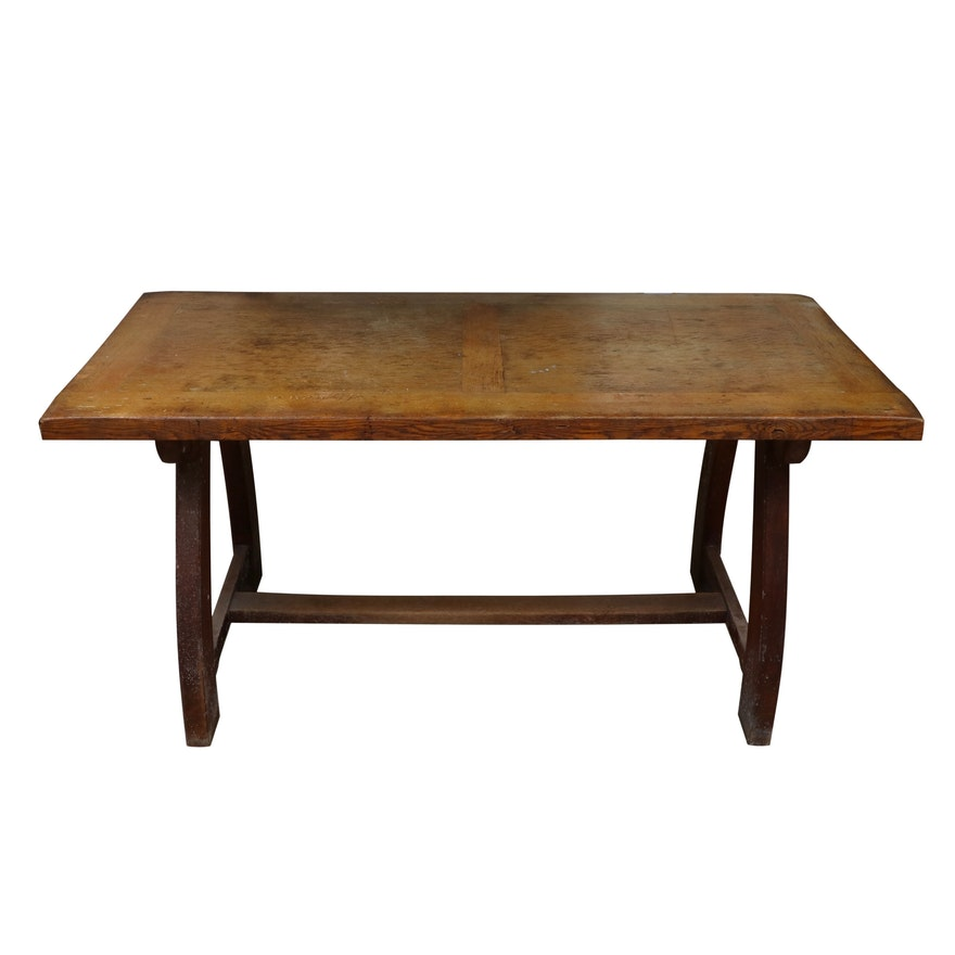 Arts and Crafts Oak Writing Table, Possibly British, Early 20th Century