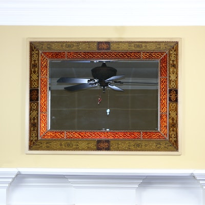 Double Inset Raised and Patterned Rectangular Wall Mirror, Late 20th Century