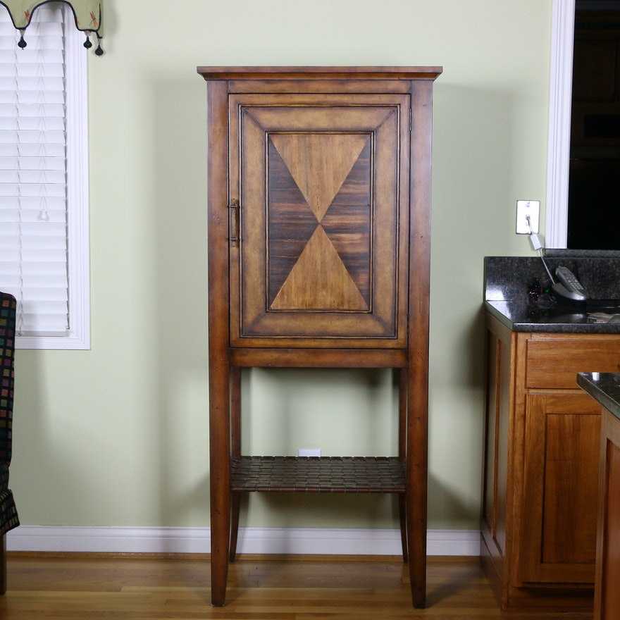 Mixed Woods Wine Cabinet with Faux Leather Woven Lower Shelf