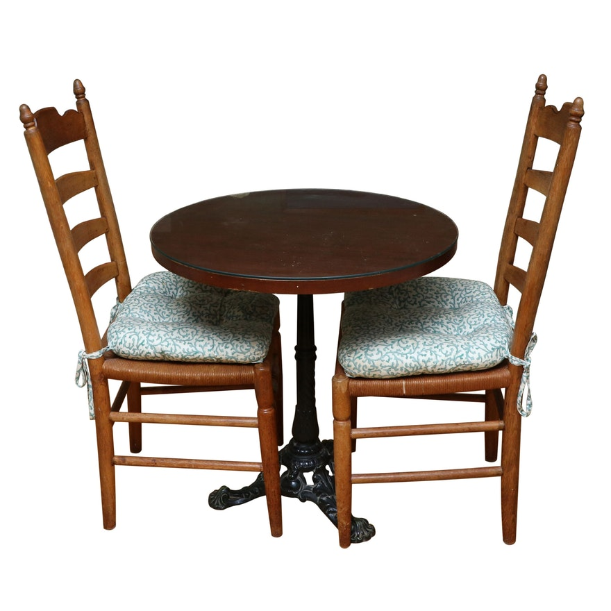 Thonet Iron Bistro Table with Ladderback Chairs, 20th Century