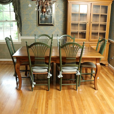 French Style Pine Dining Table with Green-Painted Rush Seat Chairs, Late 20th C.