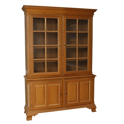 Century Furniture Oak China Cabinet, Late 20th Century