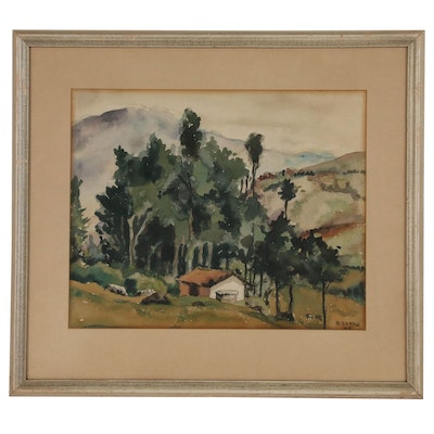 Mountain Landscape Watercolor Painting, 1943