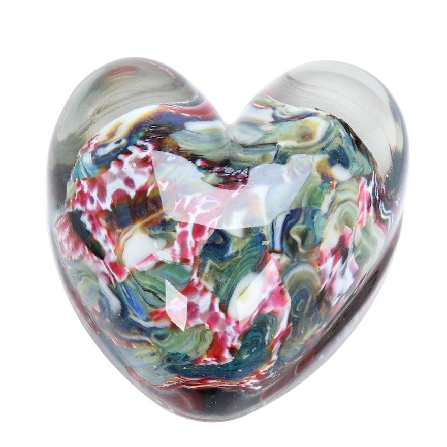 Robert Eickholt Handblown Art Glass Heart Paperweight
