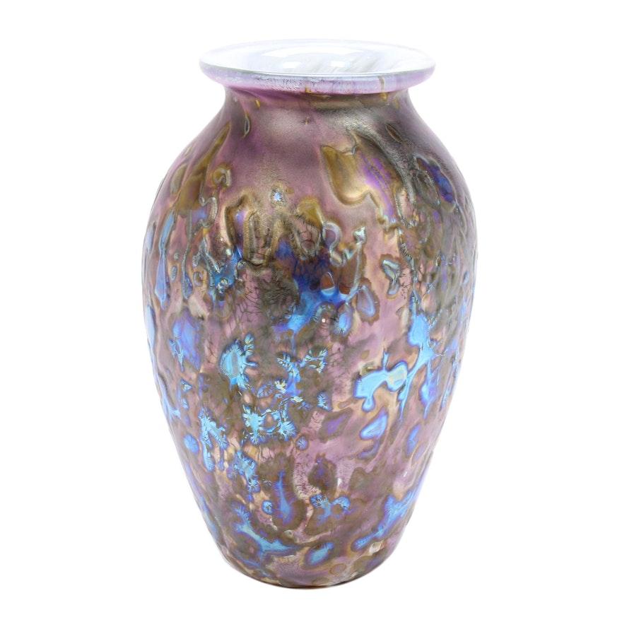 "Robert Eickholt Handblown ""Tide Pool"" Iridescent Art Glass Vase"