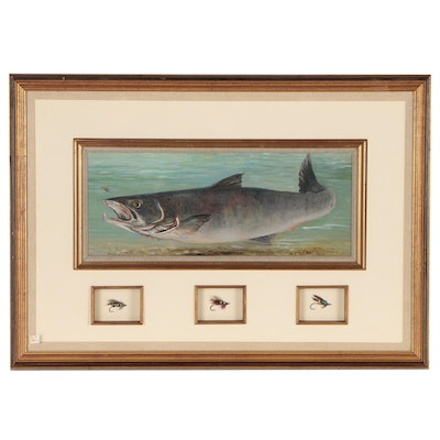 "Shirley Carnt Oil Painting ""Big Salmon with Flies"", Late 20th Century"