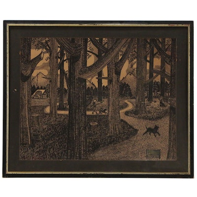 Folk Style Pen and Ink Drawing of Woodland Interior with Settlement