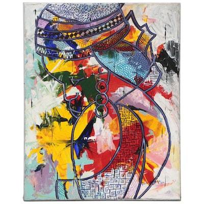 """Oluseyi Soyege Abstract Mixed Media Painting """"I'm All For You"""""""