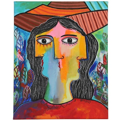"Michel Blázquez Cubist Style Portrait Acrylic Painting ""Woman with Hat"""