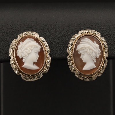 Vintage 800 Silver Shell and Marcasite Cameo Earrings