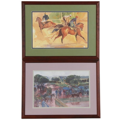 Offset Lithographs after Sandra Faye Oppegard of Horse Racing Scenes