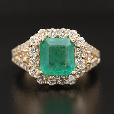 14K 2.66 CT Emerald and 1.81 CTW Diamond Ring