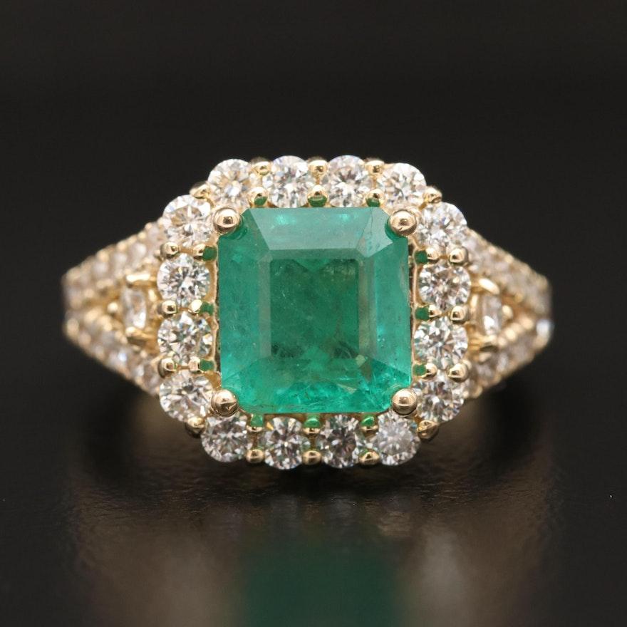 14K 2.66 CT Emerald and 1.81 CTW Diamond Ring