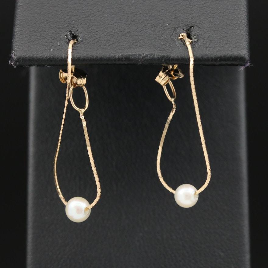 14K Pearl Chain Hoop Earrings