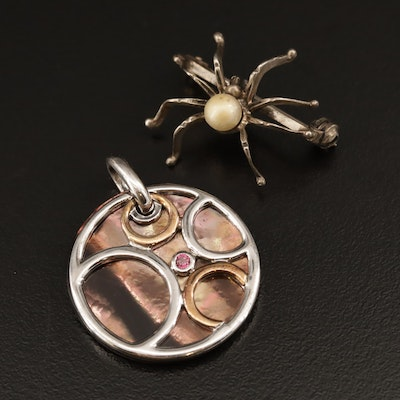 Teka Theodor Klotz 835 Silver Faux Pearl Spider Brooch with Sterling Pendant