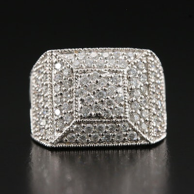 Morris & David 14K 1.48 CTW Diamond Geometric Cluster Ring