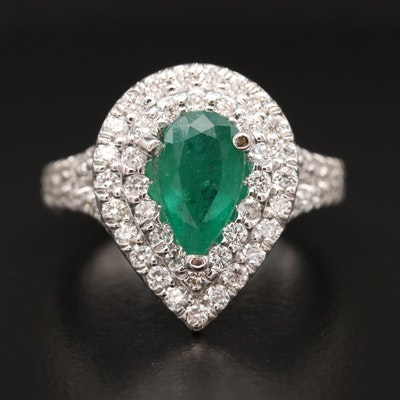 14K 1.13 CT Emerald and 1.14 CTW Diamond Ring