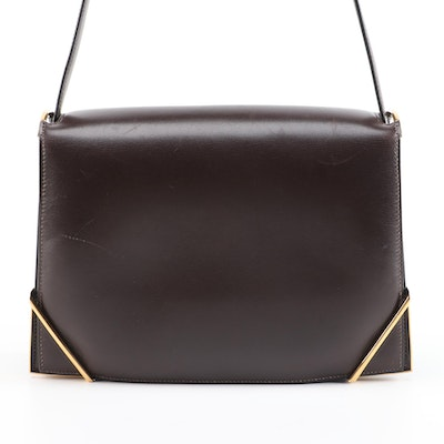 Hermès Brown Box Calf Leather Shoulder Bag, 1970s Vintage