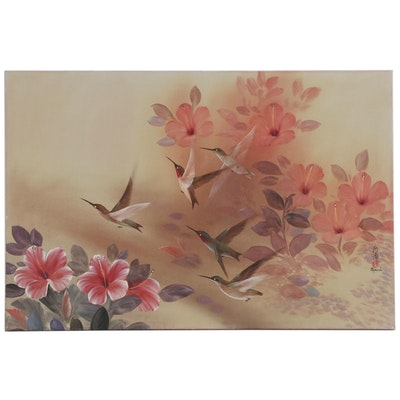 East Asian Style Oil Painting of Birds and Flowers