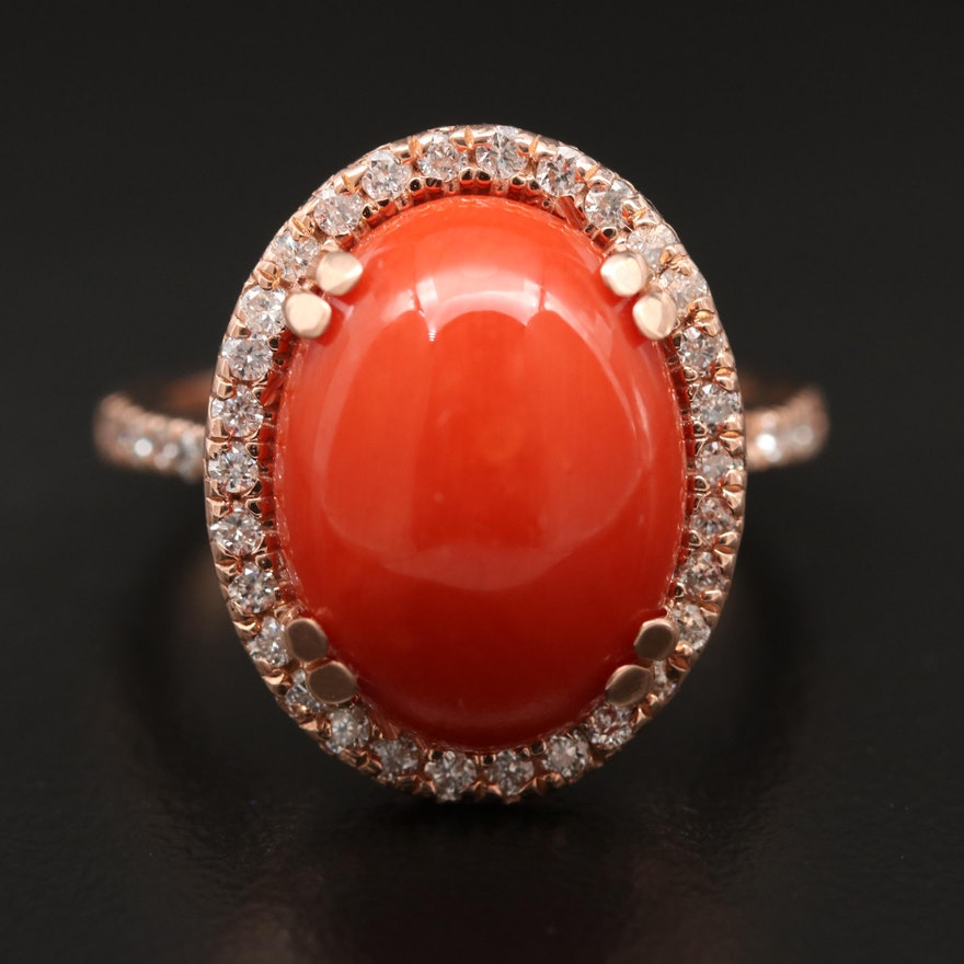 14K Rose Gold Coral Ring with Diamond Halo