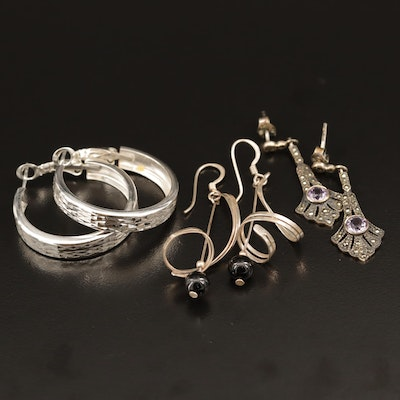 Sterling Silver Earring Selection Featuring Black Onyx, Marcasite, and Amethyst