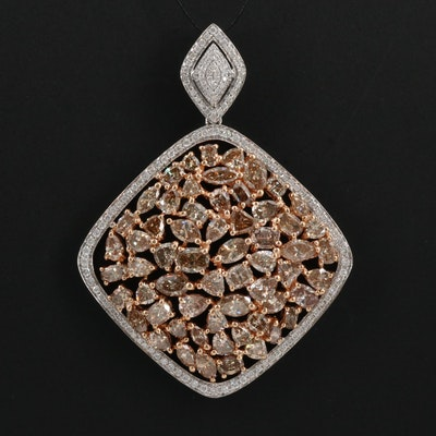 18K Two-Tone 8.94 CTW Diamond Cluster Pendant