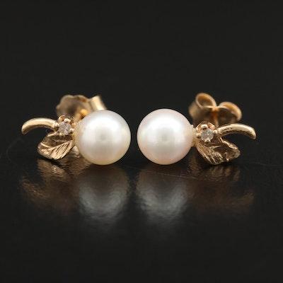 14K Pearl Stud Earrings with Diamonds and Leaf Motif