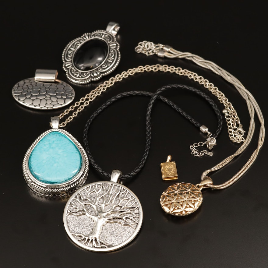Sterling Braided Leather Necklace with Glass Accented Pendants and Lockets