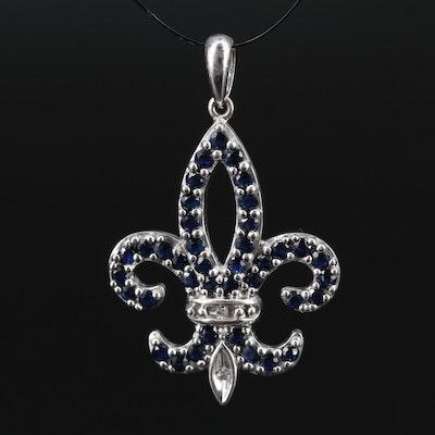 Sterling Silver Sapphire and Diamond Fleur-de-lis Pendant