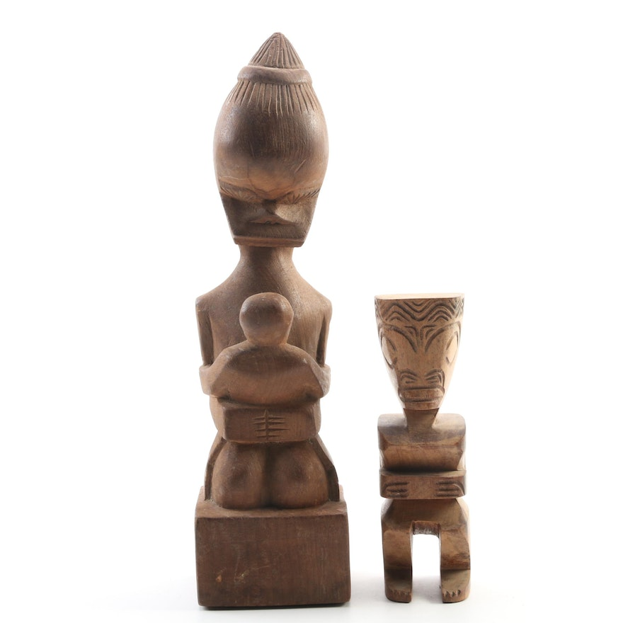 Polynesian Style Totem Statue and Figure with Child