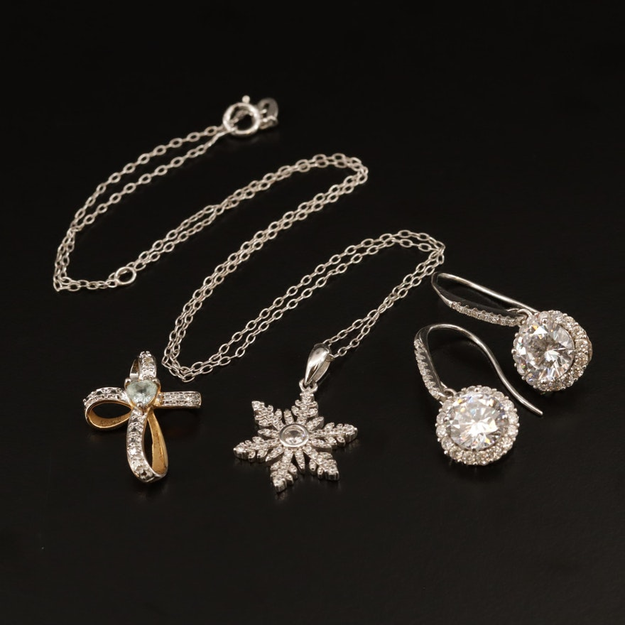 Sterling Silver and Gemstone Jewelry Featuring Snowflake and Cross Pendants