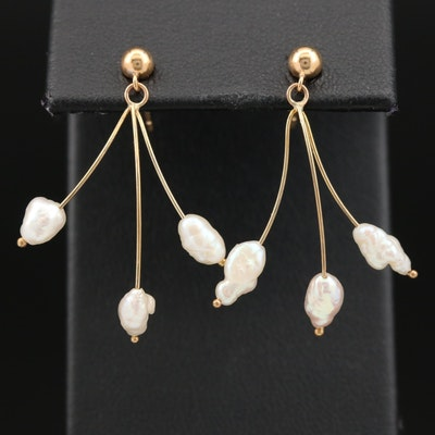 14K Pearl Spray Earrings