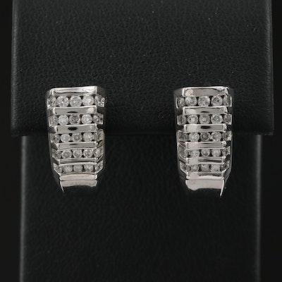 14K 1.00 CTW Diamond Channel Hoop Earrings