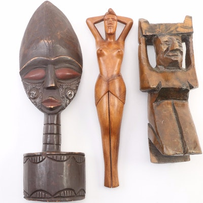 Ashanti Style Polychrome Sculpture, Alter Figure and Nutcracker