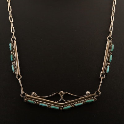 Western Sterling Petit Point Turquoise Necklace