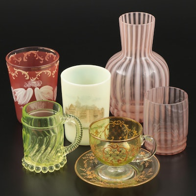Antique Glassware including Vaseline Glass, Late 19th-Early 20th Century