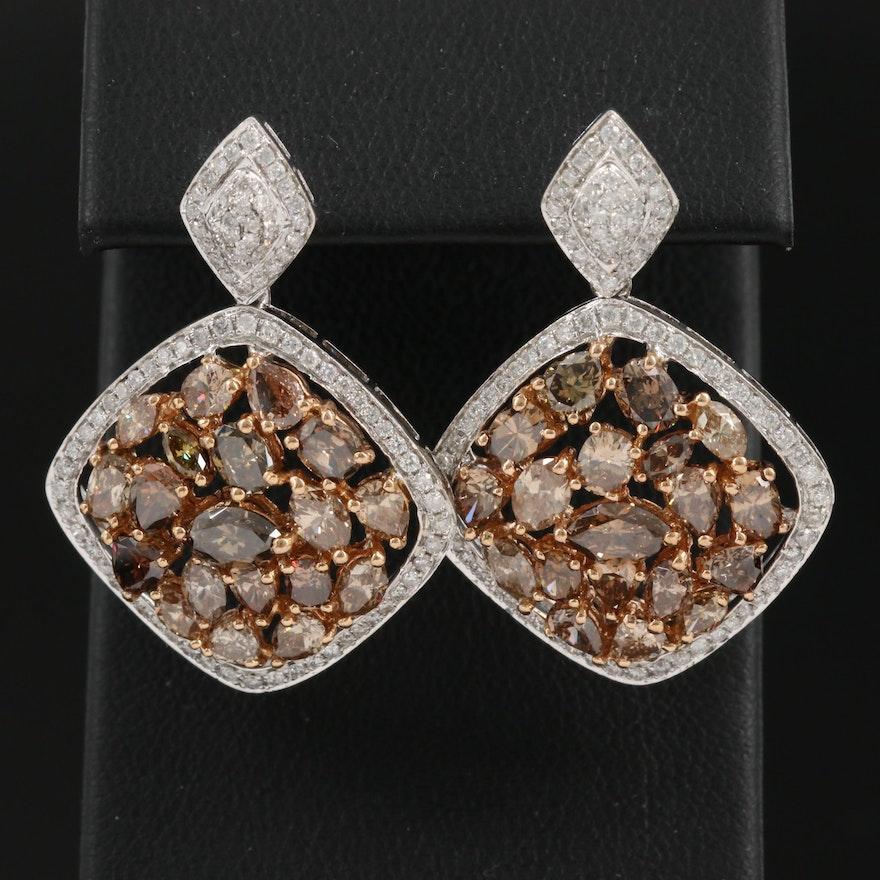 18K 8.87 CTW Diamond Cluster Drop Earrings with Diamond Halo