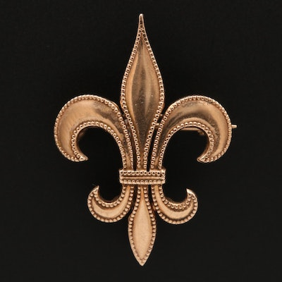 Vintage 9K Fleur-de-lis Milgrain Brooch with Watch Hook
