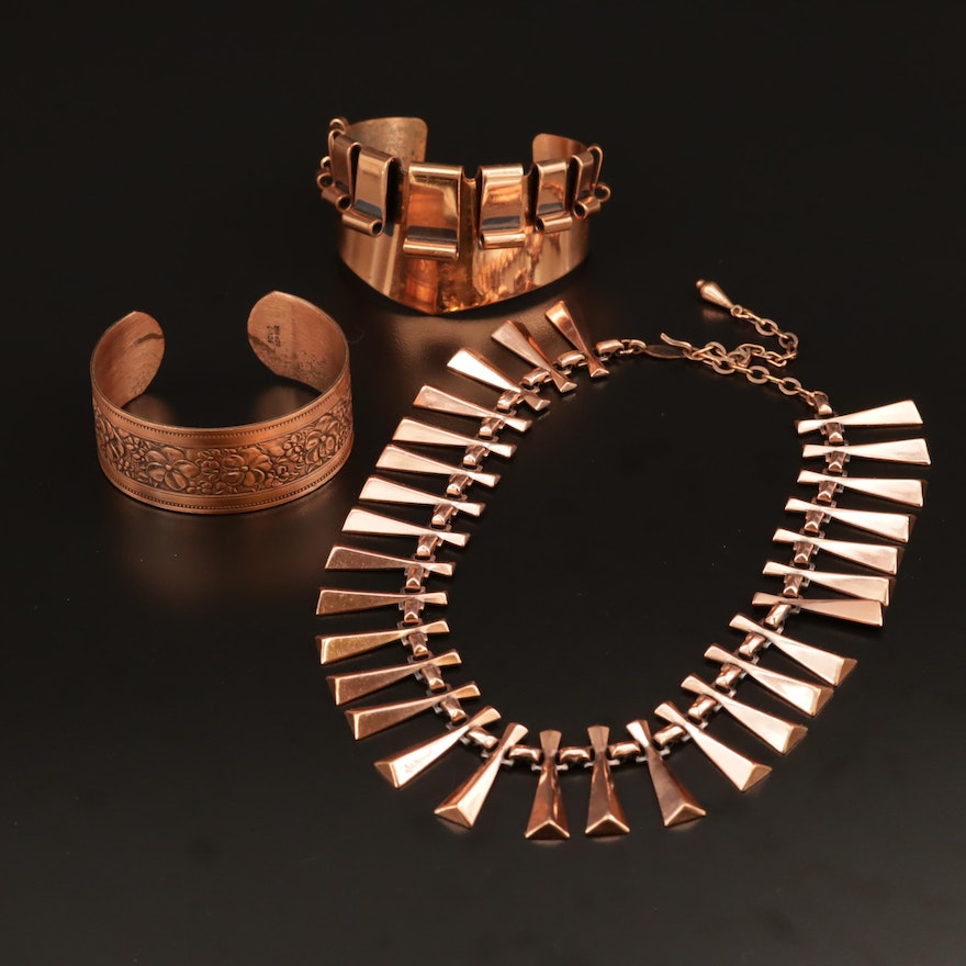 Vintage Renoir Necklace and Cuff with Solid Copper Cuff
