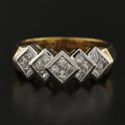18K and Platinum Diamond Geometric Knife Edge Ring