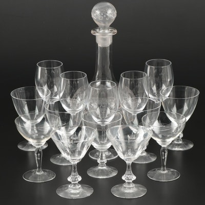 Pressed Glass Decanter with Cristal de Sevres and Other Stemware