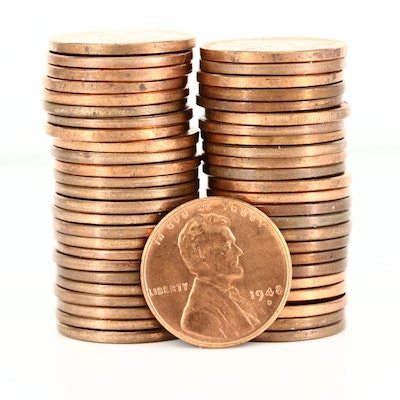 Roll of Uncirculated 1948-D Lincoln Wheat Cents